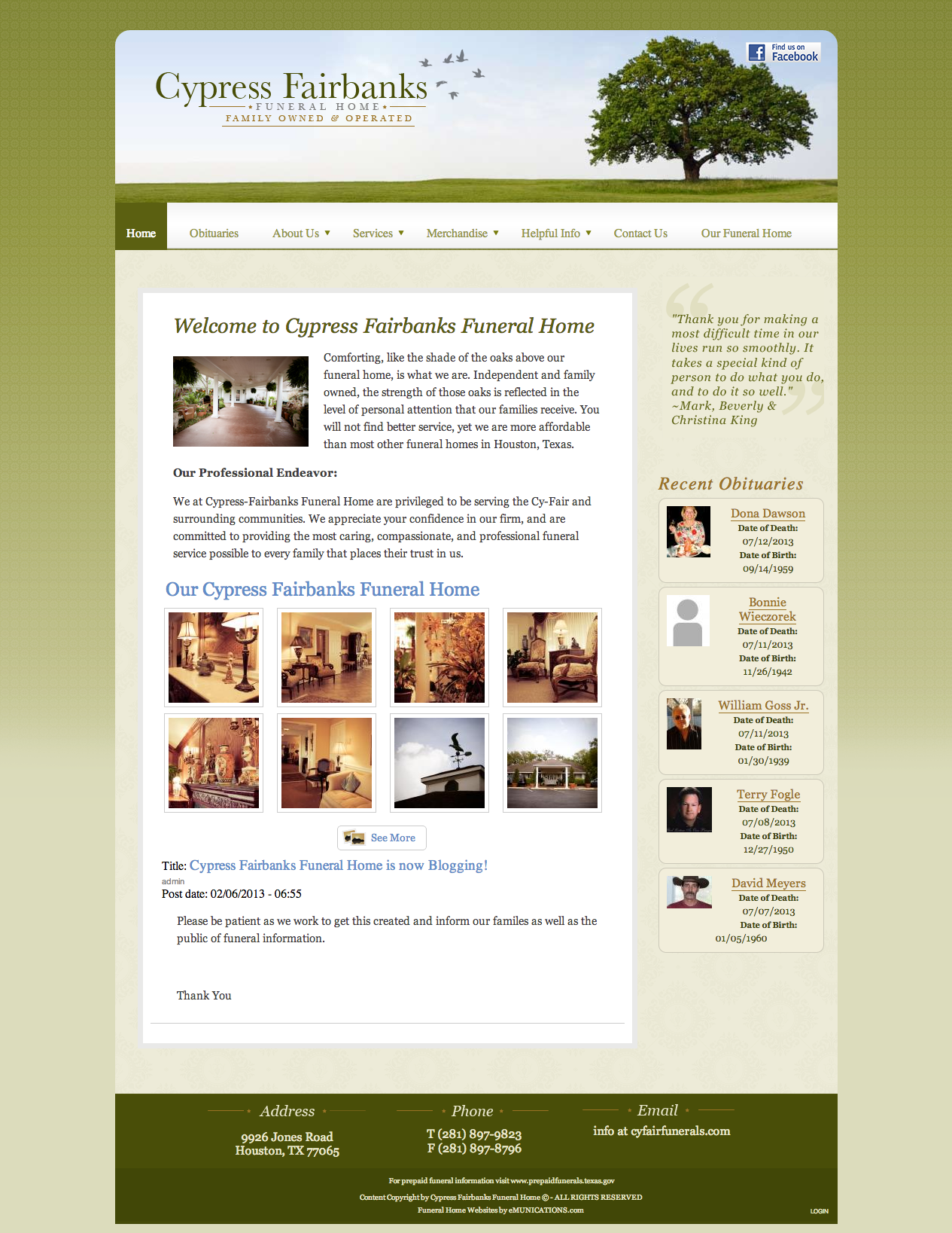 Elegant Funeral Home Websitesemunications Com Inc