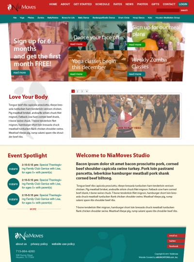 Websites for gyms and exercise studios